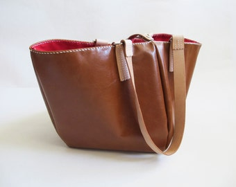 Brown Cowhide Leather Tote Bag With Red Lining, Shopping Bag, Hand-Stitched, Personalized