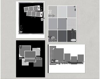 Sample Pack 33 - 8.5x11 Digital Scrapbooking Templates