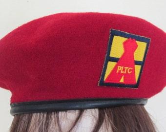 Scandinavian Cap Military Hat Red Wool Beret Danish Cap 7 1/4