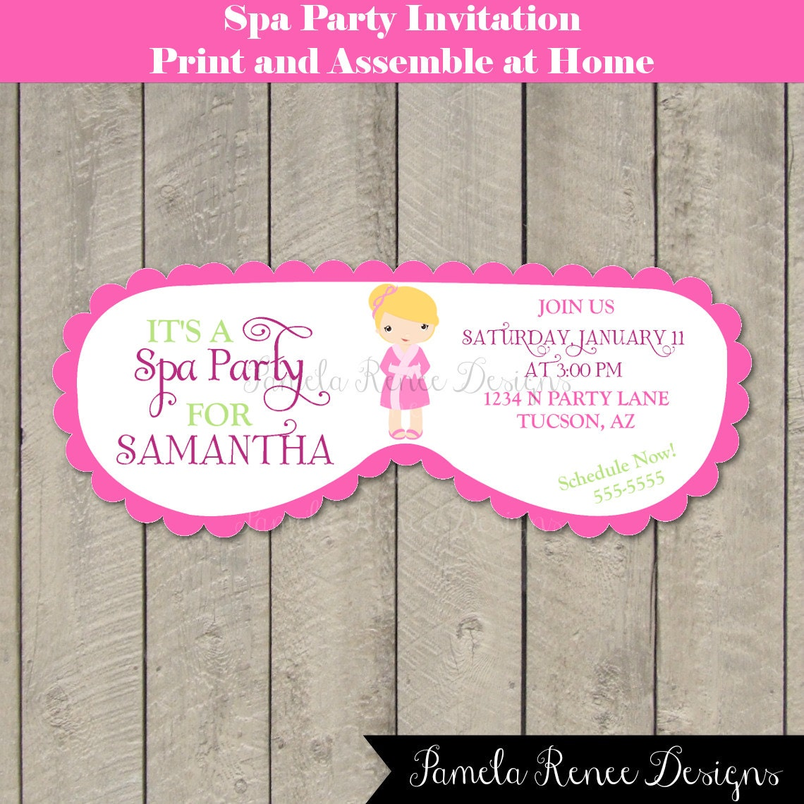 Printable spa party mask invitation your by for Spa mask invitation template
