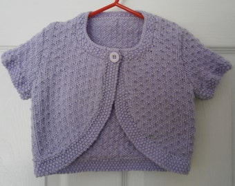 Hand Knitted Baby Girl or Toddlers Short Sleeved Lilac Bolero - 36 months
