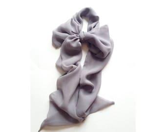 medium gray silk neck bow