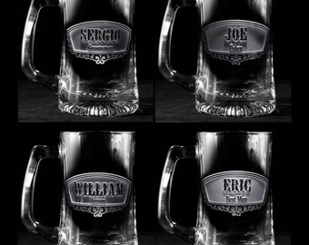 Groomsmen Gift, Engraved Best Man, Groomsman Beer Mugs, Set of 3