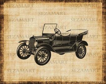 Vintage car Model T (2) - Digital Collage Sheet, Scrapbooking, Burlap Fabric Transfer to Tea Towel, Pillows, Papercrafts ,Download and Print