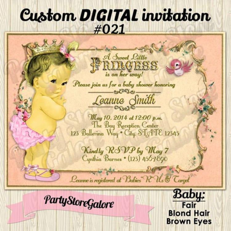 Vintage Baby Shower Invitations Girl: Vintage PRINCESS Baby Girl Shower Invitations By