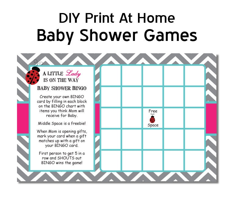 chevron ladybug baby shower game bingo diy printable digital