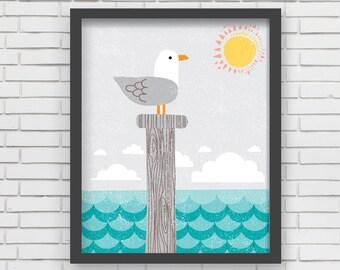 Home Decor Nautical Nursery Wall Art - Seagull Art Print - 8x10 or 11x14