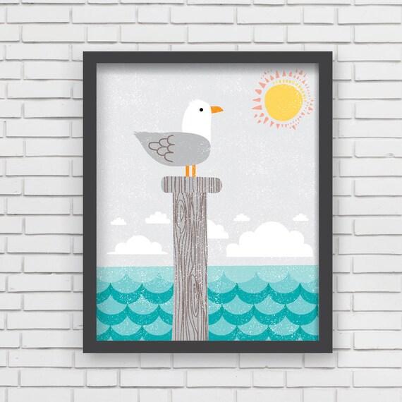 Home Decor Nautical Nursery Wall Art Seagull By - cheap home decor for nautical nursery