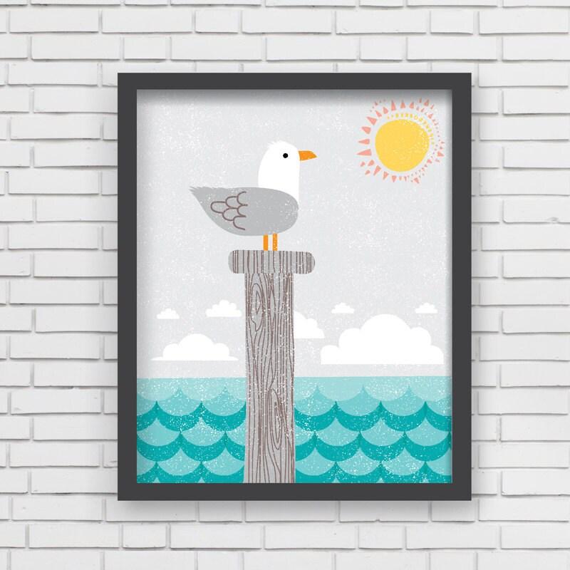 home decor nautical nursery wall art seagull art print. Black Bedroom Furniture Sets. Home Design Ideas