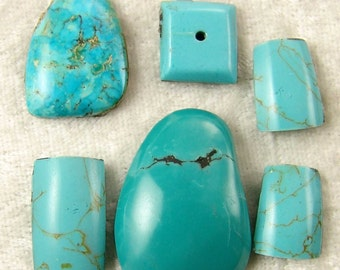 6 Turquoise Mix Cabochons,  Wire Wrap, Set, 21 x 28 mm E2071