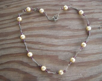 Necklace with Faux Pearl Accents  1950's
