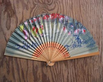 SALE --- Colorful Oriental Fan --- Reduced