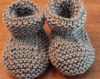 Hand Made Knitted Grey (Heather) Baby Booties - 3 - 6 Months