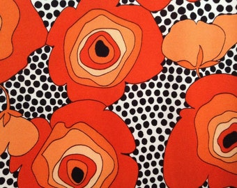 Bright red and orange flowers Pykettes shirt from the 60's-70's. Very fetching, funky and groovy!