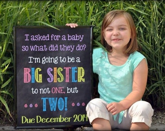 Printable Chalkboard Twins Pregnancy Reveal // Pregnancy Announcement // Big Sister