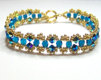 Elegant turquoise and gold bracelet, swarovski bracelet, crystal bracelet, swarovski elements, jet AB2X bracelet, beaded bracelet BR001