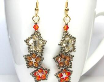 Falling stars earrings,autumn star earrings, swarovski earrings, crystal copper swarovski, fire opal swarovski, star earrings, falling star