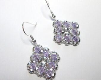 Violet and silver diamond shaped swarovski earrings, violet earrings, crystal earrings, statement earrings, swarovski earrings, ER023