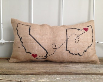 Burlap Pillow - 'Love Connection' (2) Custom City, State design - Valentines Day | gift for him, gift for her