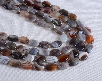 0040 18mm Botswana agate flat oval gemstone loose beads 16""
