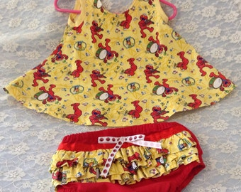 3-6 months Elmo top and ruffled bloomers free shipping