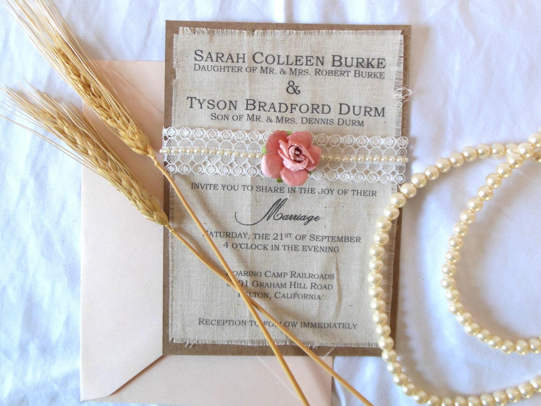 Fabric Wedding Invitations: Rustic Blush Burlap Fabric Wedding Pearl Lace Pink Paper