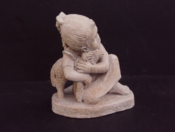Austin Productions 1975 Sculpture Girl Holding A Sheep Lamb By