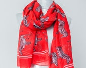 Zebra Scarf Red Scarf Animal Scarf Horse Scarf Summer Scarf Beach Pareo Women Accessorry Fashion accessory For Her