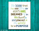 He knew that he was formed by Gods hands and placed in this world for a purpose. Christian Decor. Children's Wall Art. Little Boy Wall Decor