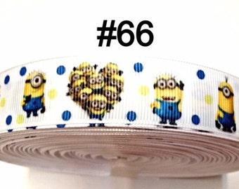 """7/8"""" Minions and Friends Polka Dot on White Grosgrain Ribbon Hair bow"""