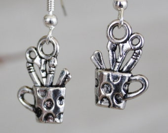 Artist supplies in a cup earrings paintbrush sissors everything an artist needs dangle silvertone fun