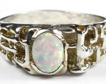 Created White Opal, 925 Sterling Silver Men's Ring, SR197