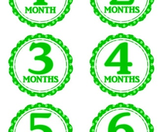 Instant Download - Baby Month to Month Stickers, Monthly Birthday Stickers for Baby, Photo Prop Birthday Stickers, Green Polka Dots