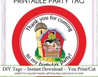 Farm Printable Party Tag, Instant Download Farmhouse Party Cupcake Topper, DIY, Farm Birthday You Print, You Cut