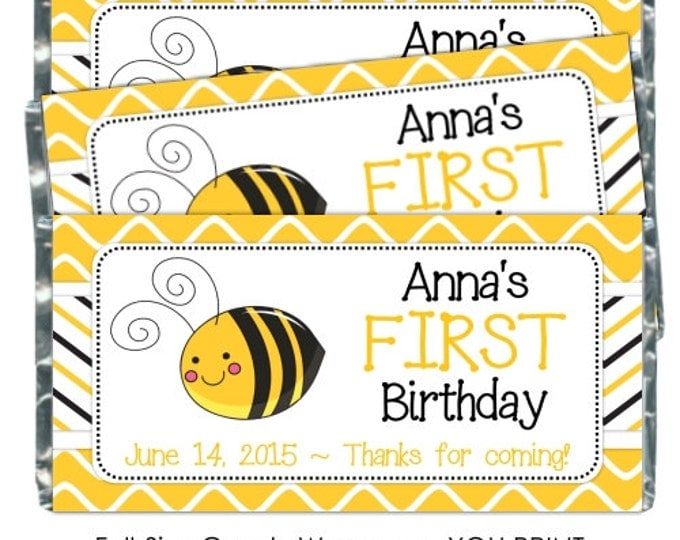 Printable Candy Wrappers, Bee Candy Wrappers, First Birthday candy wrappers, fit over chocolate bars, CUSTOM bee birthday wrappers YOU PRINT