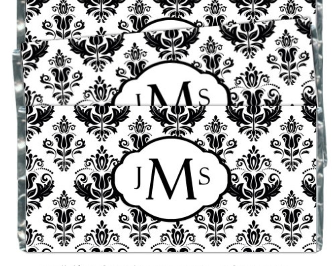 Custom Monogram Candy Wrappers, Printable Wedding Candy Wrappers, Damask Candy Wrappers, Damask Monogram, fit over 1.55 oz chocolate bars