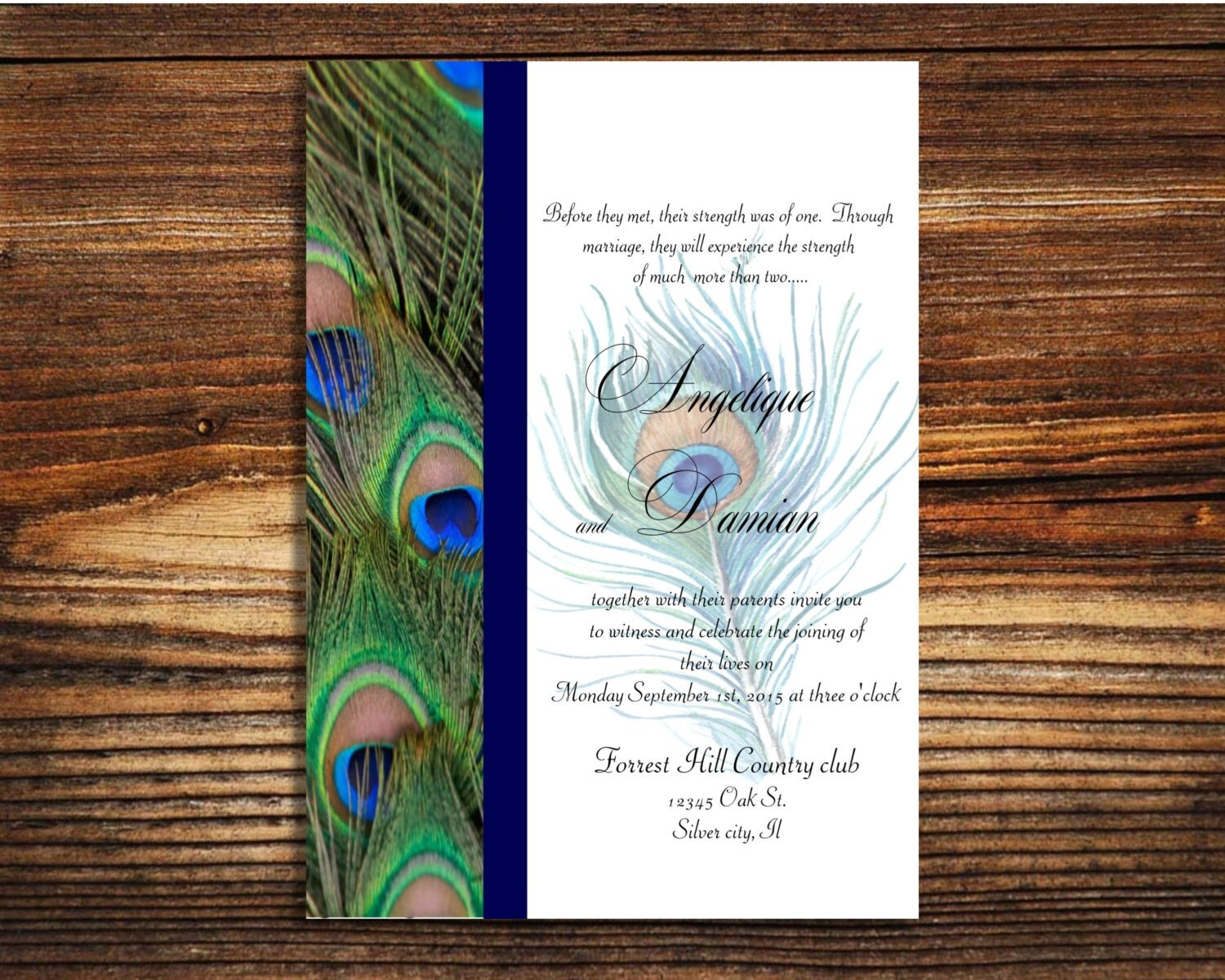 Peacock Feather Wedding Invitation: Instant Template Download Peacock Wedding Invitation Editable