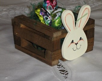 Handmade Wooden Easter Bunny Crate/Table Favor/Spring Decoration