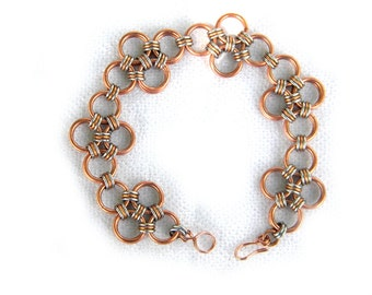 Copper and Stainless Japanese Diamond Chainmail Bracelet - Chainmail Jewelry Chainmaille Bracelet OOAK Bracelet