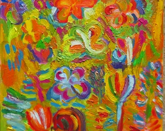 Original oil abstract painting (Flowers art)
