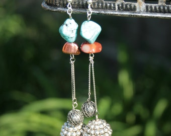 Turquoise stone and silver charm Boho earrings