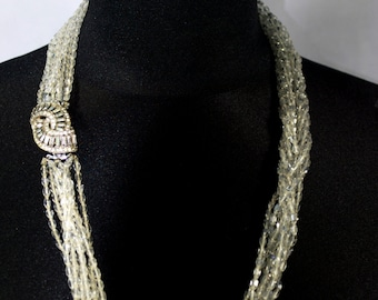 Crystal, White, Rhinestone, Vintage, Necklace, Clear,
