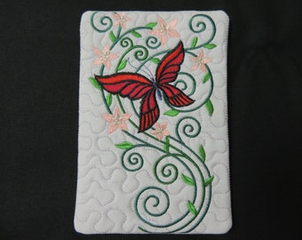 Burst of Spring Butterfly Candle Mat Red