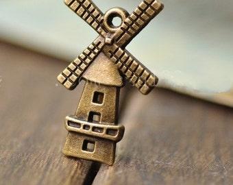 50 pcs of  antique bronze windmill charm pendant 28X16mm