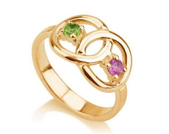 Infinity Ring, Gold Infinity ring, Promise Ring with Birthstones