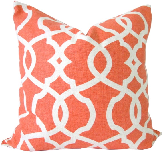 15x15 Throw Pillow Cover : Decorative Pillow Cover-Trellis Tangerine and by KLineDeco on Etsy