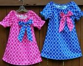 Quatrefoil dress, lattice dress**Royal blue Pink dress, big bow**Easter dress**Toddler girls peasant dress**Size 1, 2t, 3t, 4t, 5t, 6