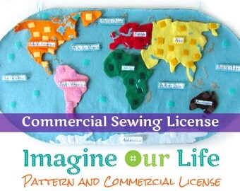 Continents of the World Felt Map Commercial License