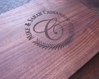 Monogram Custom Cutting Board Anniversary Gift  Wedding Present House Warming Party Hostess Gift Mother's Day Present Birthday Gift