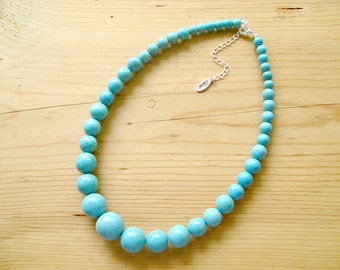 Turquoise necklace  Chunky turquoise statement necklace  Natural turquoise stone necklace